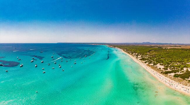 Majorca Es Trenc ses Arenes beach in Balearic Islands, Spain, July 2020