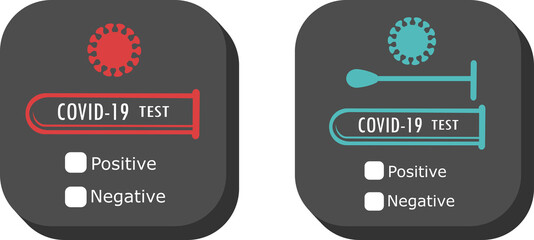 COVID-19 virus test icon with check box for positive or negative result