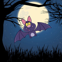 Happy Vampire Bat Cartoon Character Flying In Forest On Halloween Night. Raster Illustration With Background