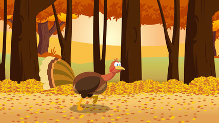 Thanksgiving Turkey Bird Cartoon Character Running In The Forest. Raster Illustration With Background
