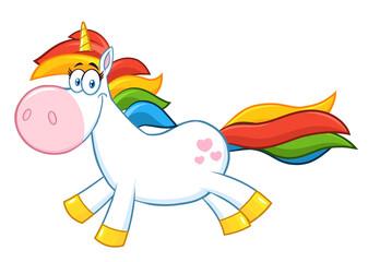 Cute Magic Unicorn Cartoon Mascot Character Running. Raster Illustration Isolated On White Background