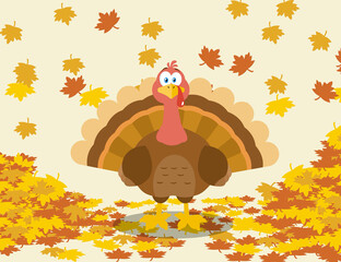Thanksgiving Turkey Bird Cartoon Character With Autumn Leaves. Raster Illustration With Background