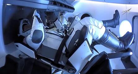 NASA astronauts Robert Behnken and Douglas Hurley are seen aboard SpaceX's Dragon Endeavour spacecraft