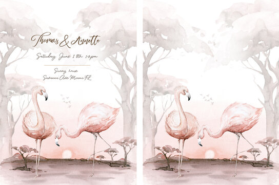 Hand drawn watercolor tropical flamingo birds wadding invitation background. Set of African flamingos. Exotic rose bird illustrations, jungle tree, brazil trendy art. Perfect for fabric design.