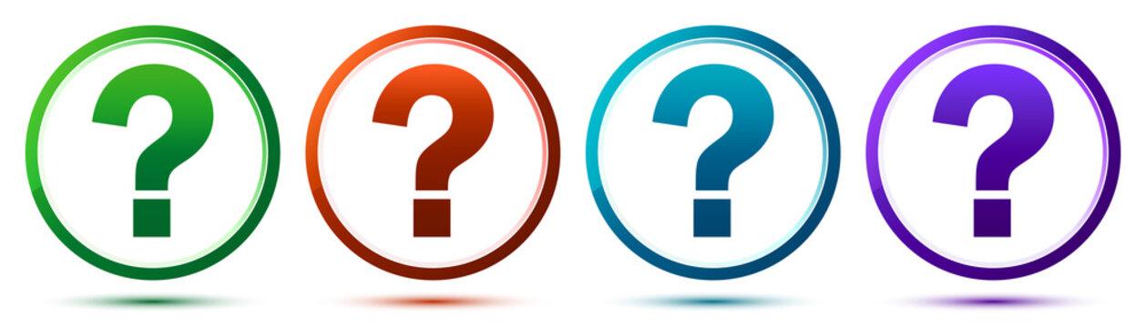 Question mark icon artistic frame round button set illustration