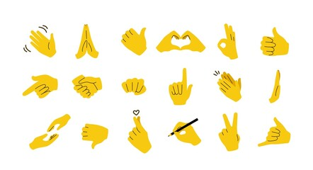 Hand emoticons. Yellow arms and fists with gestures of open palm, prey, like or dislike, victory and muscle. Vector image flat waving and raised hands set