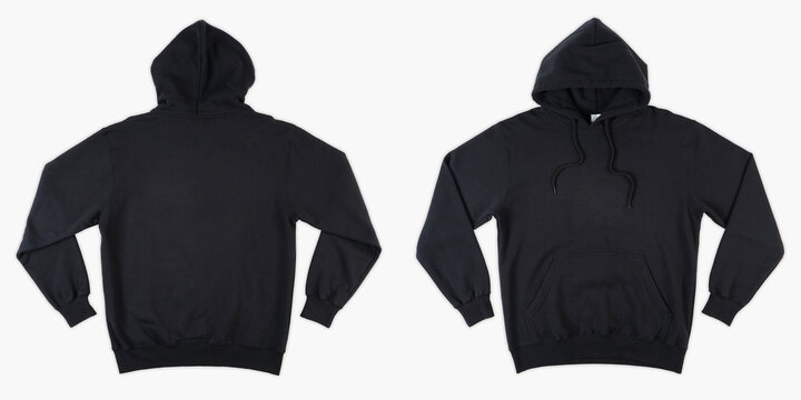Blank black male hooded sweatshirt long sleeve with clipping path, mens hoody with zipped for your design mockup for print, isolated on white background. Template sport winter clothes.