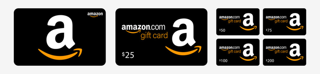 PARIS, FRANCE – AUGUST 02, 2020 : Amazon Gift Card with dollar amount. Isolated generic black gift cards set on white background. Plastic present card. Vector illustration.