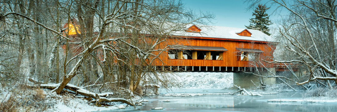 King's Mill Covered Bridge in Marion , Ohio in winter