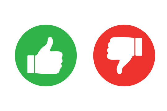 Thumbs up and thumb down icon set. Thumb up and thumb down line icons. Flat style - stock vector.