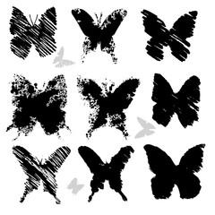 grunge butterflies, vector silhouettes