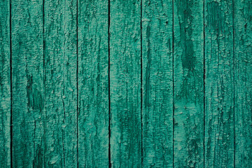 Abstract background with old wooden fence with green paint.