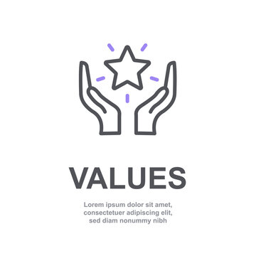 Core values of company icon with simple text. Web page for employee template design vector element. Modern design. Abstract flat icon. Star in hand business concept of company care illustration V6