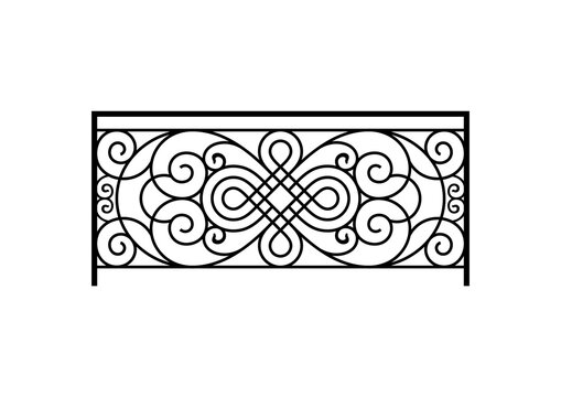 Black forged lattice fence vector image. Iron work concept.