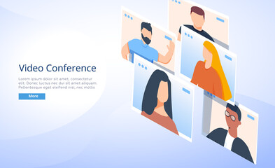 Illustrations flat design concept video conference. online meeting work form home. Vector illustrate. People connecting.