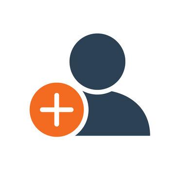 User profile with plus line icon. Add new friend, customer, follow symbol