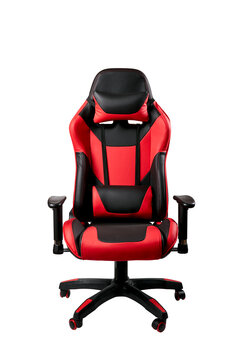 black and red comfortable gaming chair. isolated on a white background. furniture for computer gamers