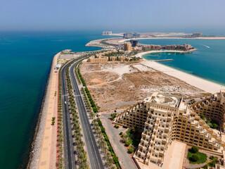 Marjan Island in Ras al Khaimah emirate in the UAE aerial view