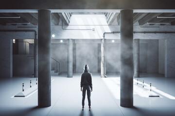 Hacker standing in minimalistic parking garage underground. Fototapete