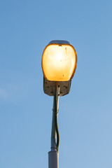 street light with blue sky background