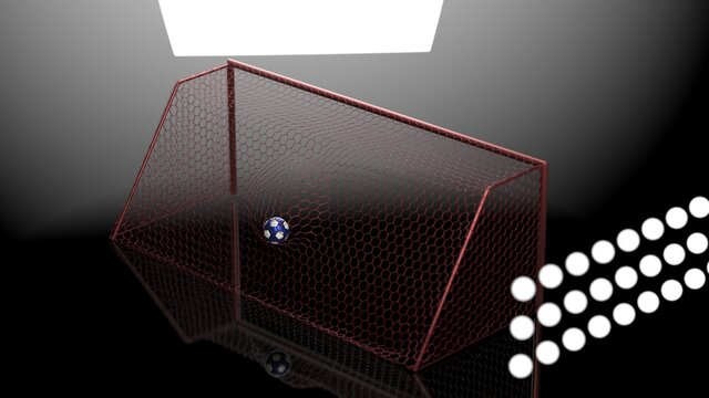 Blue-Black Soccer Ball in the Red Goal Net under spot lighting. Concept subjects such as technology, virtual reality, augmented reality, artificial intelligence. 3D illustration. 3D CG.