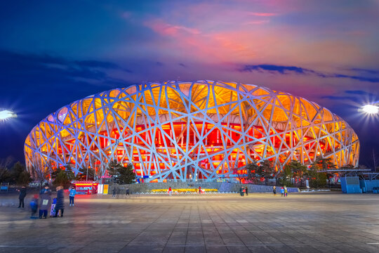 Beijing, China - Jan 11 2020: The national Stadium (AKA Bird's Nest) built for 2008 Summer Olympics, Paralympics and will be used again in the 2022 winter Olympics