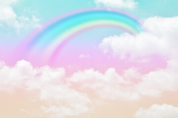 Foto op Canvas Purper Fantasy magical landscape the rainbow on sky abstract with a pastel colored background and wallpaper.