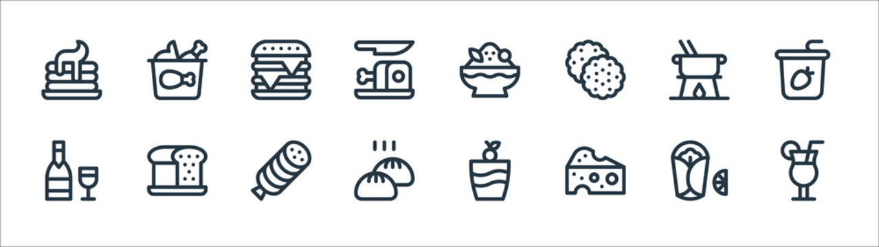 gastronomy line icons. linear set. quality vector line set such as cocktail, cheese, baozi, wine, fondue, burger, shaved ice, buffalo.