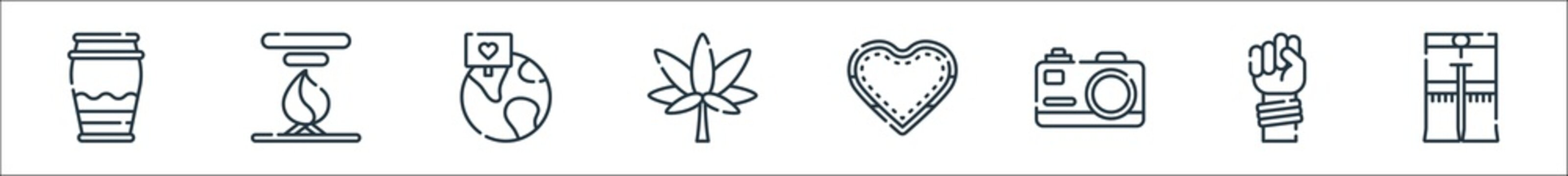 hippies line icons. linear set. quality vector line set such as pant, protest, camera, love, marijuana, global, bonfire.