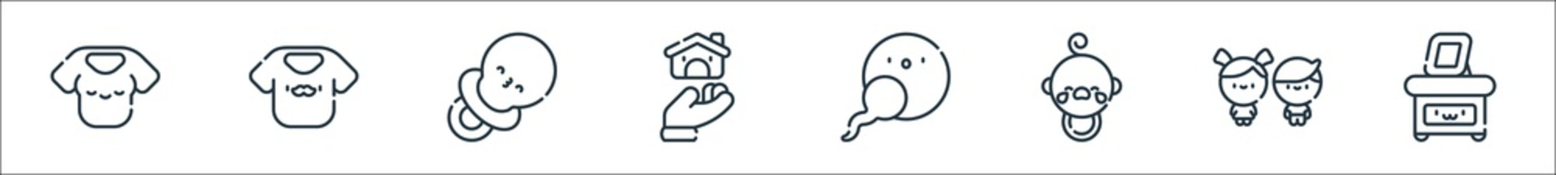 family line icons. linear set. quality vector line set such as picture, children, baby, fertilization, family, pacifier, dad.
