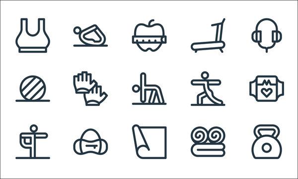 pilates line icons. linear set. quality vector line set such as kettlebell, yoga mat, yoga, bath towel, sport bag, pilates, yoga, treadmill,.