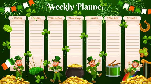Weekly planner vector template of timetable, schedule and organizer. Week chart for to do list, day agenda, goals and tasks planning, diary, reminder notes, study plan with Irish leprechauns, clover