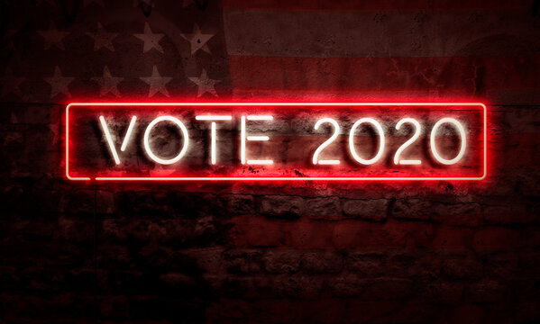 Neon Vote 2020 Sign American Primary Presidential Election Democracy Concept USA