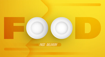Realistic plates. Fast food delivery from shops for online orders. Service. Conceptual yellow banner. Vector Wall mural