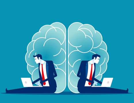 Business brainstorming. Two sides of the brain concept. Psychological issues and thinking
