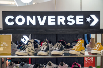 BANGKOK, THAILAND - JUNE 14, 2020 : Converse star icon sign and brand shop in ICONSIAM department store at bangkok, Thailand. Iconsiam already open November 9, 2018.