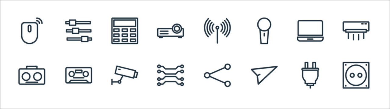 technology line icons. linear set. quality vector line set such as electric socket, send, networking, radio, laptop, calculator, equalizer.