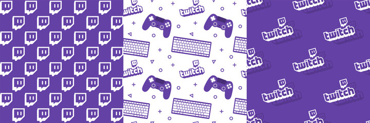Twitch logo seamless pattern background illustration vector collection