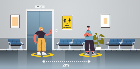 businesspeople in protective masks keeping distance to prevent coronavirus pandemic social distancing concept people standing on yellow floor signs full length horizontal vector illustration
