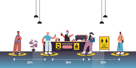 cafe visitors in protective masks keeping distance to prevent coronavirus social distancing concept people standing on yellow fllor signs horizontal full length vector illustration