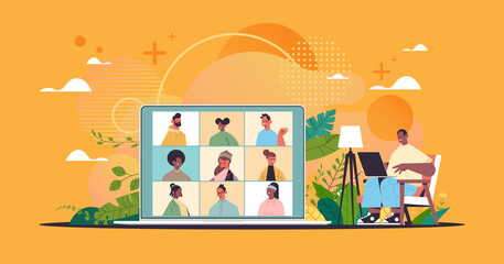 man chatting with mix race colleagues during video call online conference virtual meeting communication remote work concept horizontal full length vector illustration