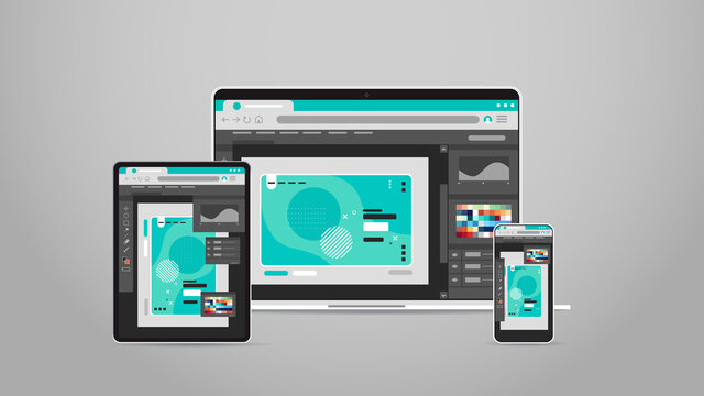 laptop tablet and smartphone screns cross platform application development adaptive user interface responsive web design horizontal vector illustration
