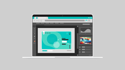 graphic editor on laptop screen creative content configuration design concept horizontal vector illustration