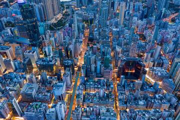 Photo sur Plexiglas Hong-Kong Top view of Hong Kong evening