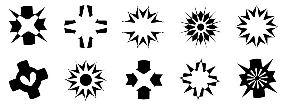Set of silhouette black color isolated element, starburst star logo banner shape icon, abstract background pattern texture wallpaper vector illustration graphic design
