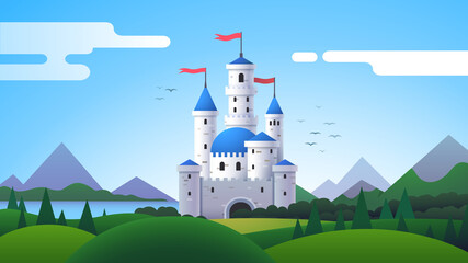 Fantasy landscape with castle, mountains and hills Wall mural