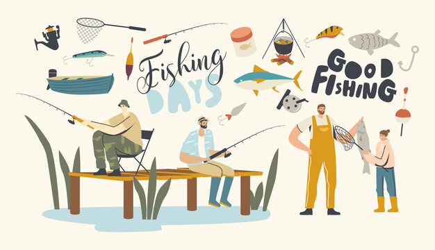 Fishing Hobby, Fishermen Sit on Pier with Rod Having Good Catch. Father with Daughter on Lake or River Catching Fish