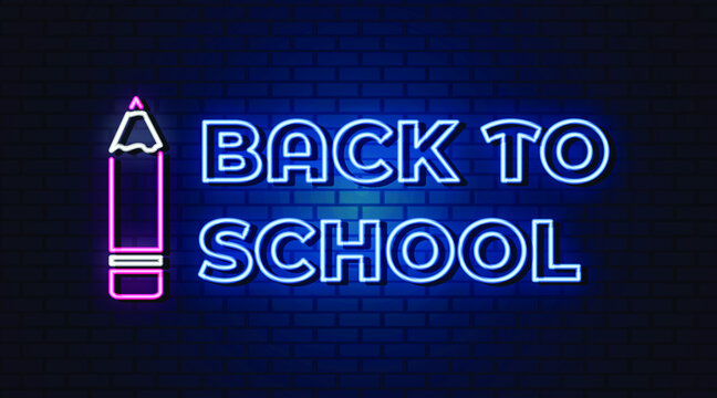 back to school neon text  neon sign