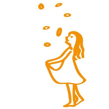 Handgezeichnetes Sterntaler-Symbol in orange