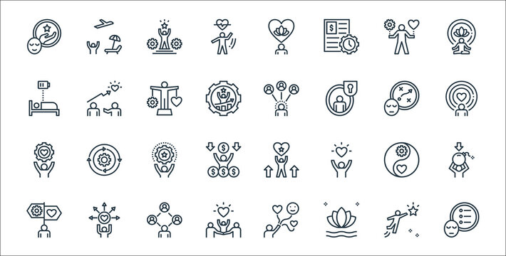 work life balance line icons. linear set. quality vector line set such as priority, harmony, family, guidance, wellness, skill, spirit, relationship, coaching.